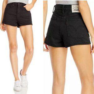 NEW Levi's Wellthread Black Ribcage Denim Shorts